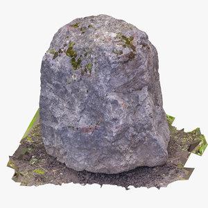 3D boulder 02 raw scan model