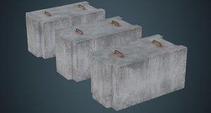 concrete barrier 5b 3D