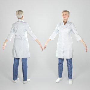 adult woman uniform medical model
