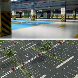 3D realistic car park 2 model
