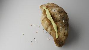 croissant cream 3D model