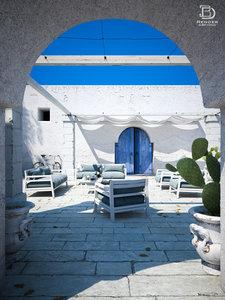 3D mediterranean courtyard