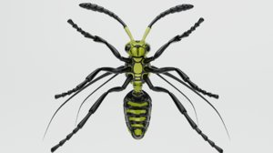 3D wasp insect nature animation model