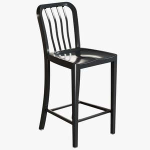 3D realistic black bar stool model