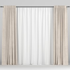 curtain tulle brown 3D model