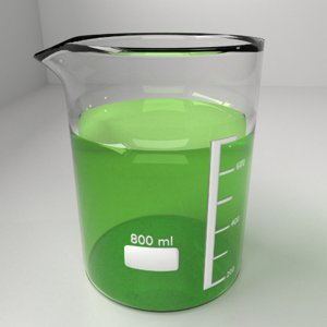 3D 800ml glass beaker liquid