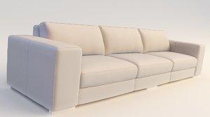 modern sofa modeled seams 3D model