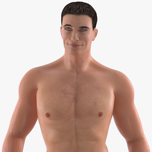 fit athletic man rigged 3D model