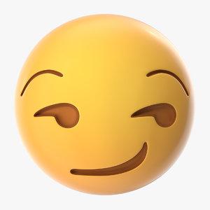 3D model smirk emoji