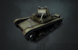 3D soviet t-26 tank model