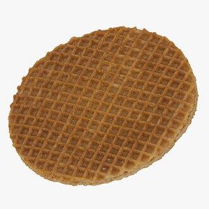 3D caramel waffle 01 raw