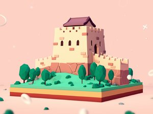 cartoon great wall china 3D model