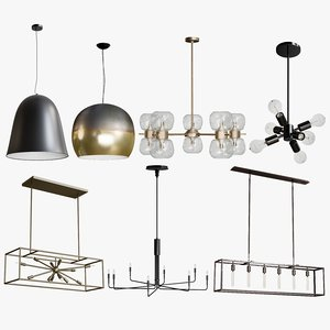 3D model realistic pendant light collections