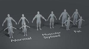 human body base mesh 3D model