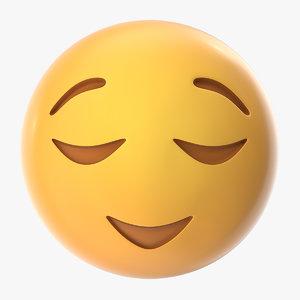3D relieved emoji model