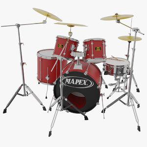 mapex drum kit 3d model