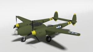 3D lockheed p38 - lighting model
