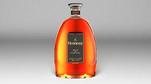 3D bottle hennessy fine cognac model