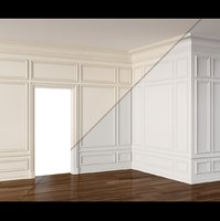 Wall Molding 3 Boiserie Classic Panels Low-poly 3D model