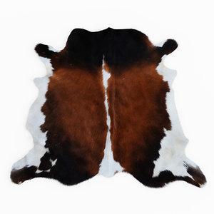 wool cowhide brown white model