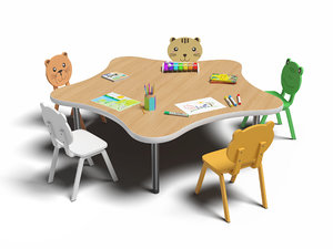 3D model chairs table set kids
