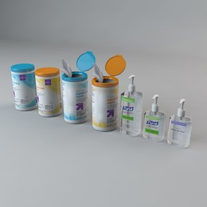 disinfection kit wipes purell 3D model