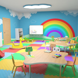 interior scene nursery classroom 3D model