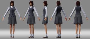 3D girl student model