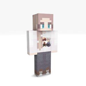 3D minecraft girl 1 rigged