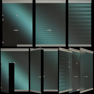 glass partition wall door 3D model