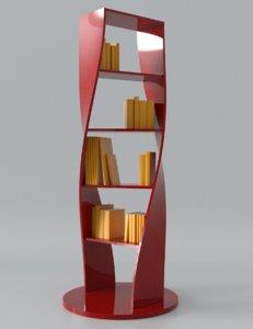 3D books modern shelf model