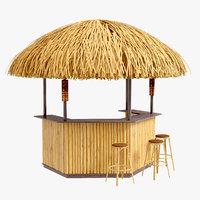 Porter bamboo beach bar tiki 3 set