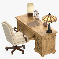 Classical Office Desk With Chair 02