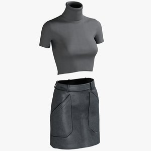 realistic women s skirt 3D model