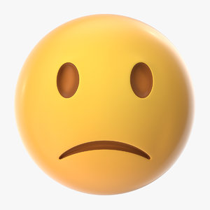unhappy emoji 3D model