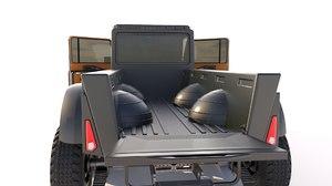 modern hunting pick-up truck 3D