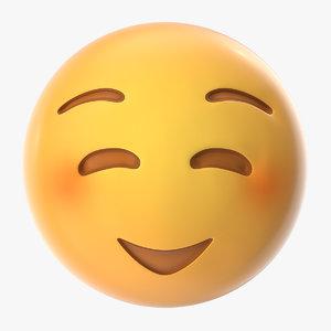 3D model shy emoji