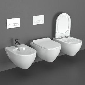 3D model toilets bidet volle altea