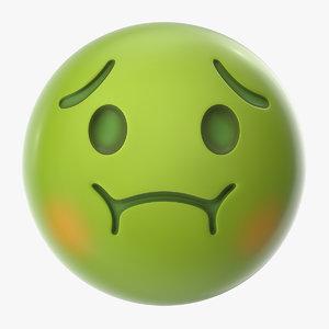 3D nauseated face emoji nausea model