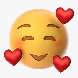 3D smile emoji hearts