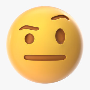 raised eyebrow emoji 3D model