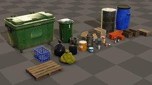 3D pack trash bin boxes model
