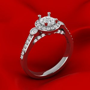 cluster halo engagement ring 3D model