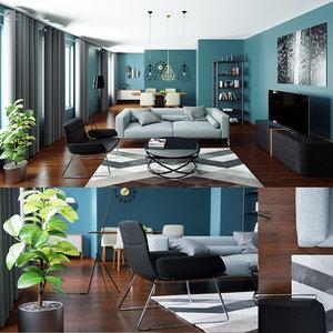 render scene modern interior 3D model