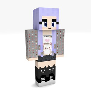 3D minecraft girl 2 rigged model