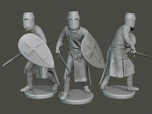 3D model knight templar action t1