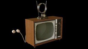 3D model vintage tv set antenna