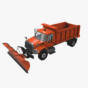 3D snow plow truck international model