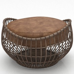 3D model bamboo wicker chair leather