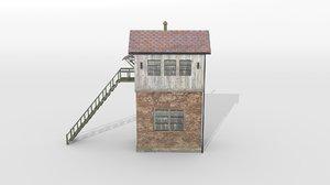 3D old german railway tower